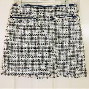 H&M White Blue Black Boyce Tweed Style Skirt